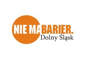 """logo i napis """"Nie ma Barier - Dolny Śląsk"""""""