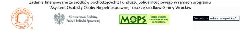"""Obraz zawiera logotypy instytucji finansujących projekt: Ministerstwa Rodziny, Pracy i Polityki Społecznej, MOPS we Wrocławiu i Gminy Wrocław oraz realizowatora: Fundacji """"Promyk Słońca"""""""